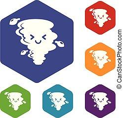 Tornado icons vector hexahedron