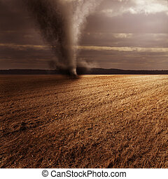 Tornado in field - Scenic view of tornado in countryside...