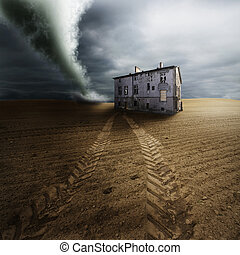Scenic view of tornado in countryside field by old building; cloudscape background.