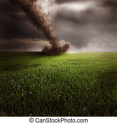 Tornado in green field - Scenic view of tornado in green...