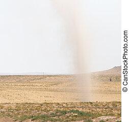 tornado in the field of dust