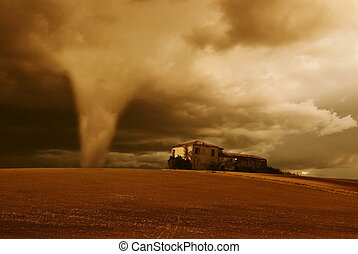 tornado in the morning - tornado in the early morning over...