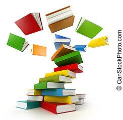 tornado, libros, aislado, white.