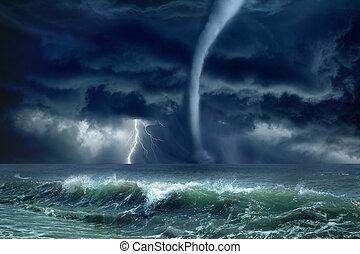 Tornado, lightning, sea - Nature force background - huge...