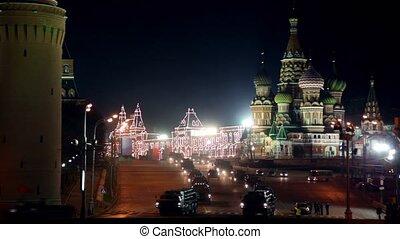 TORNADO MLRS 9K58 motorcade ride by quay of Moscow Kremlin...