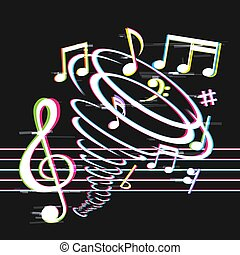 tornado, notas, glitch, música