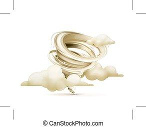 tornado, nubi, illustrazione
