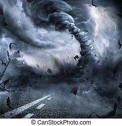 tornado, poderoso, -, destruição