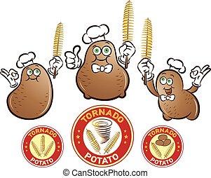 Tornado Potato - Vector illustration of potato characters...
