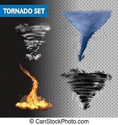 tornado, realistico, set, 3d