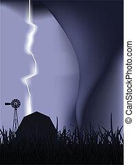 tornado, relámpago