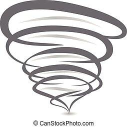 tornado, símbolo, espiral, señal, vector, tornado