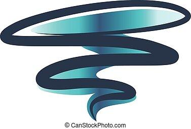 tornado, símbolo, huracán, espiral, vector, icono