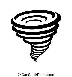 tornado, simbolo, fondo, isolato, giallo