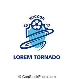 Tornado Soccer emblem template. Blue abstract sport logo.