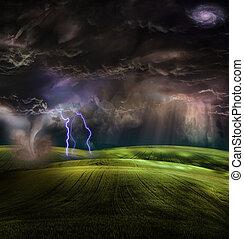 tornado, tempestuoso, paisaje
