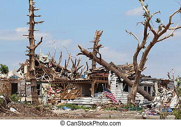 tornado, thuis, beschadigd, bomen, &
