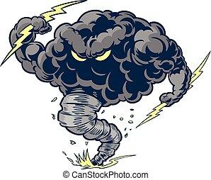 tornado, tuono, arrabbiato, nuvola, mascotte