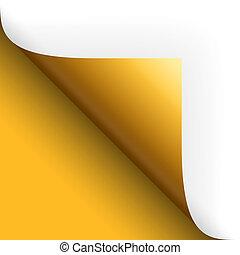 torneado, fundo, sobre, amarela, papel, /, página, esquerda