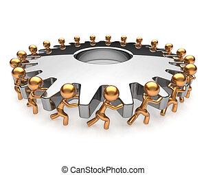 torneado, negócio, processo, sociedade, gearwheel, trabalho equipe
