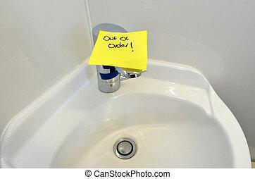 torneira água, avariado
