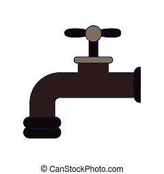 torneira água, caricatura, isolado