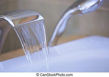 torneira água, fluir