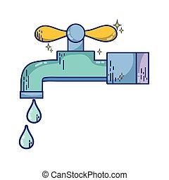 torneira água, gotas, metal, limpo