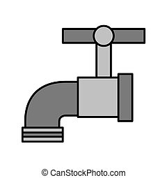 torneira água, metal, ícone