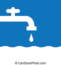 torneira água, silueta, branca