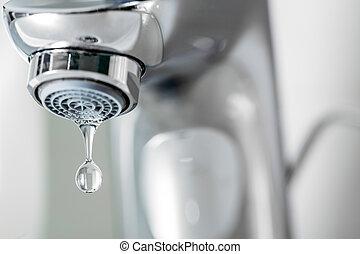 torneira, closeup, com, gotejando, waterdrop