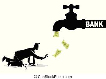 torneira, esvaziado, notas, fluxos, água, homem negócios, banco, aproximar-se