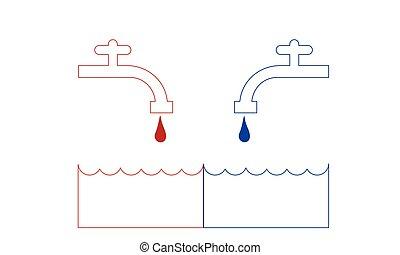torneira, gelado, ou, água quente