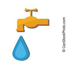 torneira, gota, metal, ilustração, água, vetorial, queda