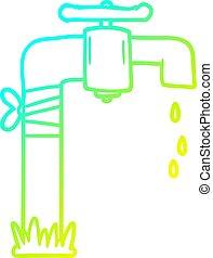 torneira, gradiente, forre desenho, água, antigas, gelado, caricatura