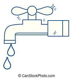 torneira, metal, água, limpo, linha, gotas