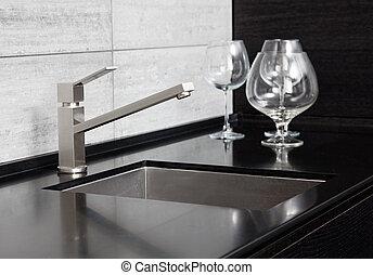 torneira, modernos, metal, pretas, pia, mármore, cozinha