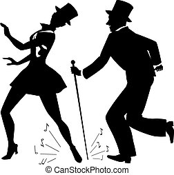 torneira, topo, dançarinos, silueta, chapéus