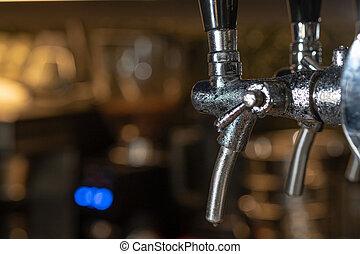 torneiras, barzinhos, beer., dentro, bar, esportes, cerveja, esboço, interior