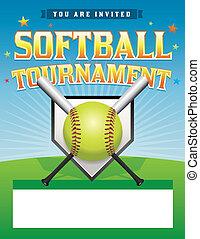 torneo, ilustración, sofbol