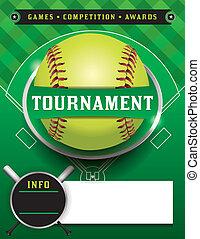 torneo, plantilla, ilustración, sofbol