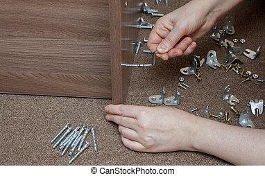 tornillo, asamblea, manualmente, marco de madera,...