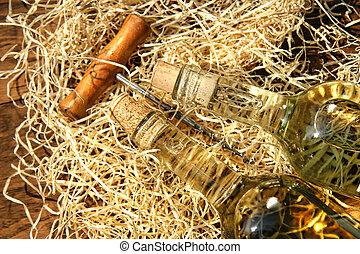 tornillo, botellas de vino, corcho