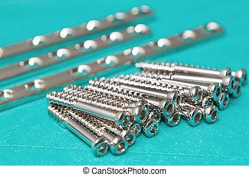 tornillo, ortopédico, tabla, placas, implante, estéril