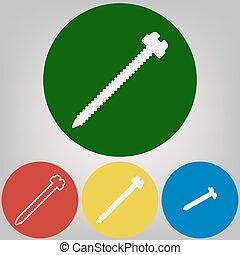 tornillo, señal, illustration., vector., 4, blanco, estilos, de, icono, en, 4, coloreado, círculos, en, gris ligero, fondo.