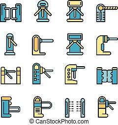 torniquete, conjunto, vector, iconos, plano