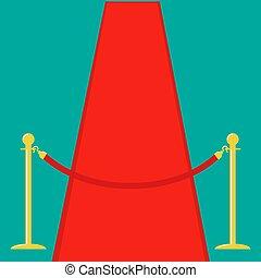 torniquete, rojo, soga, fondo., dorado, plantilla, diseño, alfombra, plano, barrera, verde, aislado, postes