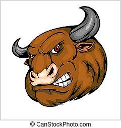 toro, cabeza, mascota, -, vector, ilustración, para, deporte, equipo