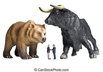 toro, estatuillas, oso, empresa / negocio