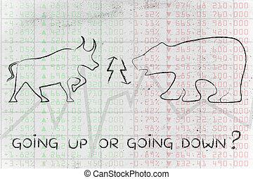toro y oso, encima, bolsa, índices, con, texto, el ir para arriba, o, yendo, down?